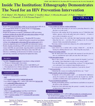 NIMH - R01 MH65163-01: Brazilian HIV Prevention for the Severely Mentally Ill  -