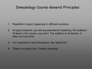 Immunology Course-General Principles