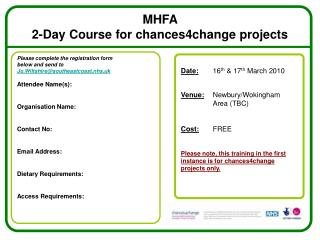 MHFA  2-Day Course for chances4change projects