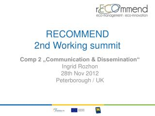 RECOMMEND  2nd Working  summit