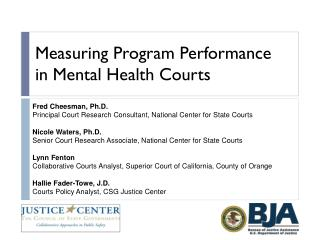 Measuring Program Performance in Mental Health Courts