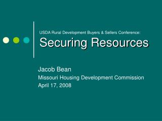 USDA Rural Development Buyers & Sellers Conference: Securing Resources