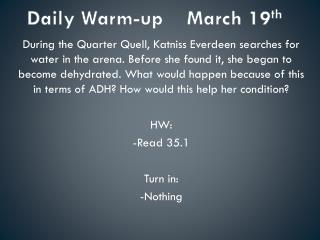 Daily Warm-up    March 19 th
