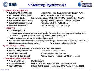 SLS Meeting Objectives: 1/2