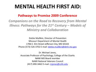 MENTAL HEALTH FIRST AID: