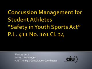 May 29, 2012 Diana L. Malone, Ph.D. AIU Training & Consultation Coordinator