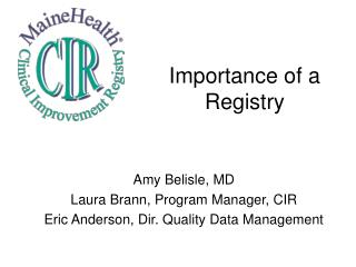 Importance of a Registry