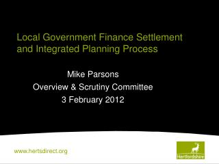 Local Government Finance Settlement and Integrated Planning Process