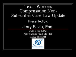 Texas Workers Compensation Non-Subscriber Case Law Update