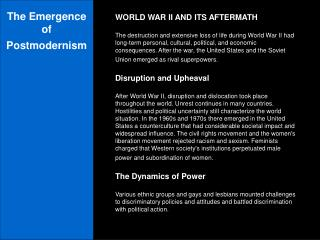 The Emergence of Postmodernism