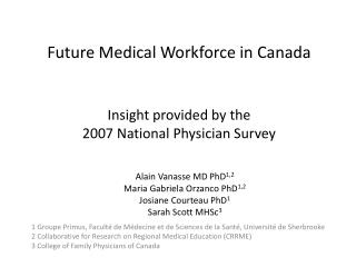 Future Medical Workforce in Canada  Insight provided by the  2007 National Physician Survey