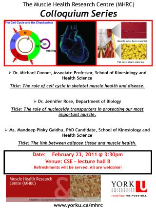 The Muscle Health Research Centre (MHRC) Colloquium Series