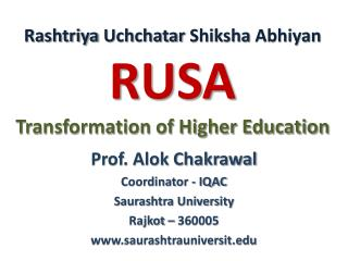 Rashtriya Uchchatar Shiksha  Abhiyan  RUSA Transformation of Higher Education