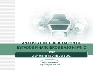 ANALISIS E INTERPRETACION DE ESTADOS FINANCIEROS BAJO NIIF/NIC
