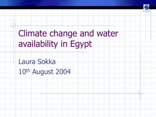 Climate change and water availability in Egypt