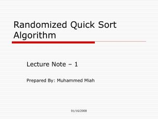 Randomized Quick Sort Algorithm