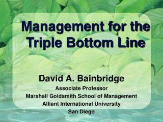 Management for the Triple Bottom Line