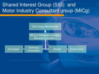 Shared Interest Group (SIG)  and  Motor Industry Consultant group (MICg)
