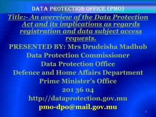 Data protection office (PMO)