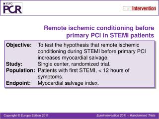 Remote ischemic conditioning before  primary PCI in STEMI patients