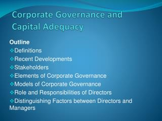 Corporate Governance and Capital Adequacy