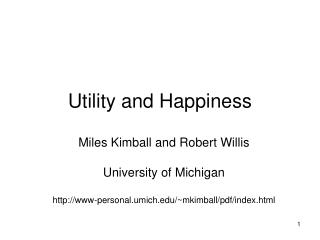 Utility and Happiness
