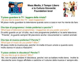 Mass Media, il Tempo Libero  e la Cultura Giovanile Foundation level