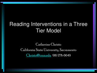 Reading Interventions in a Three Tier Model