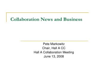 Collaboration News and Business