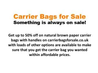 Get up to 50% off on various carrier bags