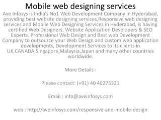 Mobile web designing services in UK CANADA Singapore Malaysia USA