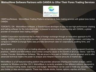 MotiveWave Software Partners with OANDA