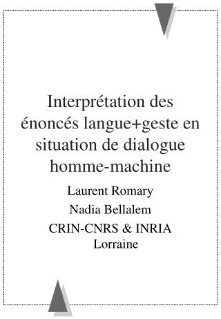 Interprétation des énoncés langue+geste en situation de dialogue homme-machine