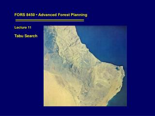 FORS 8450 • Advanced Forest Planning Lecture 11 Tabu Search