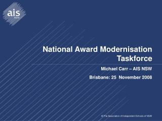 National Award Modernisation Taskforce