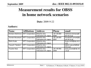 Measurement results for OBSS  in home network scenarios