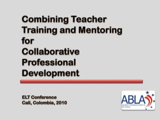 Combining Teacher  Training and Mentoring  for  Collaborative  Professional  Development