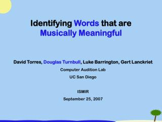 Identifying  Words  that are  Musically Meaningful