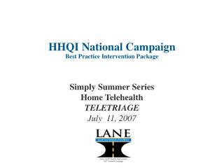HHQI National Campaign Best Practice Intervention Package