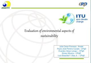 Evaluation of environmental aspects of sustainability