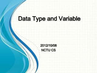Data Type and Variable