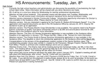HS Announcements: Tuesday, Jan. 8 th