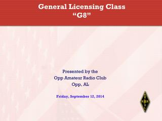 "General Licensing Class ""G8"""