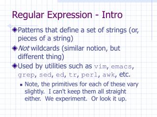 Regular Expression - Intro