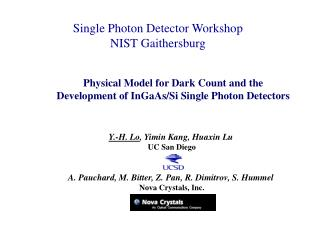 Single Photon Detector Workshop NIST Gaithersburg