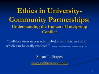 Ethics in University-Community Partnerships:  Understanding the Impact of Intergroup Conflict
