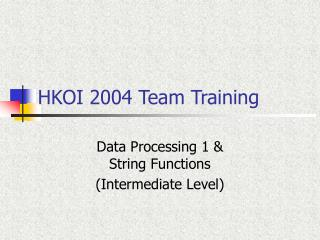 HKOI 2004 Team Training