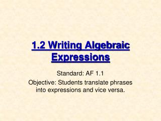 1.2 Writing Algebraic Expressions
