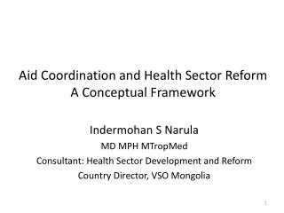 Aid Coordination and Health Sector Reform A Conceptual Framework