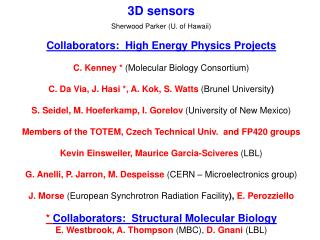 3D sensors Sherwood Parker (U. of Hawaii) Collaborators:  High Energy Physics Projects